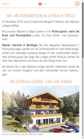 Startseite der Alpbach Lodge auf Smartphones