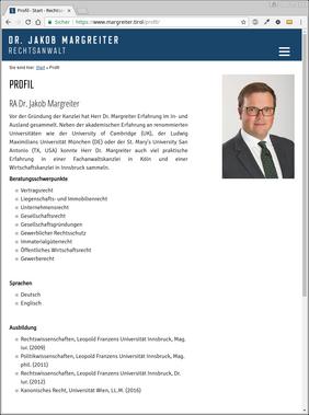 """Seite """"Profil"""" im Darstellungsmodus für Mobilgeräte"""